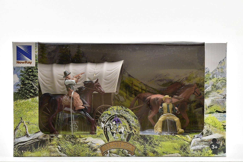 Newray 38535A Set da gioco ambientazione Western con carovana e personaggi