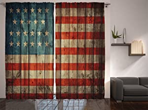 """Ambesonne USA Curtains, Fourth of July Independence Day Painted Old Wooden Rustic Background Patriot, Living Room Bedroom Window Drapes 2 Panel Set, 108"""" X 84"""", Blue Red"""