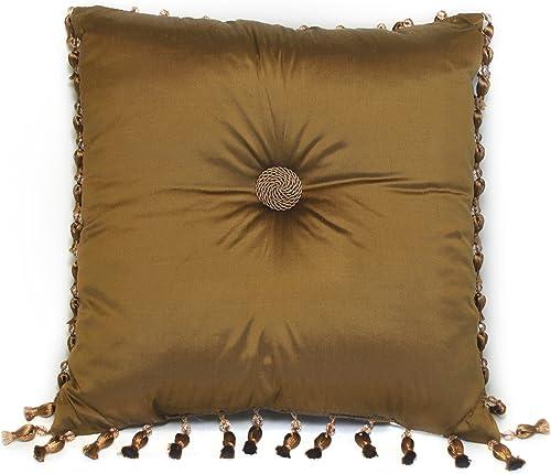 Austin Horn Classics Verona 18-Inch Shantung Gold Square Pillow, Gold