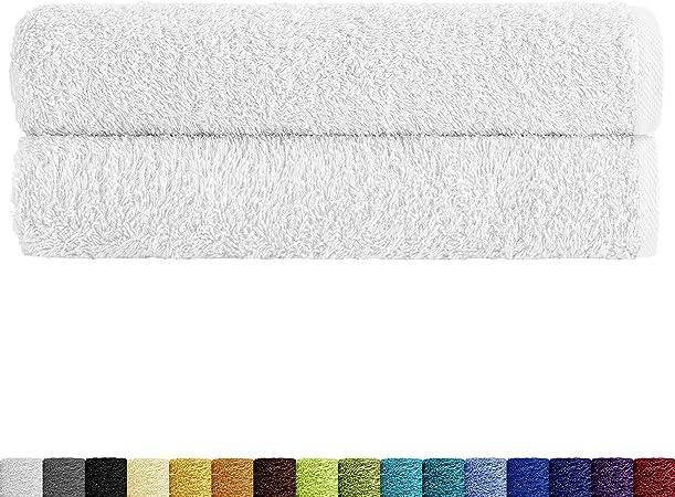 Eiffel Textile Packs de Toallas Calidad Rizo 400 gr, Algodón Egipcio 100%, Blanco, Ducha 70x140 cm, 2 Unidades: Amazon.es: Hogar