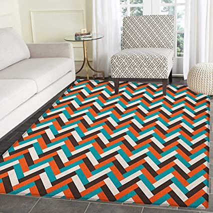 Amazon Com Mid Century Area Silky Smooth Rugs Herringbone Pattern