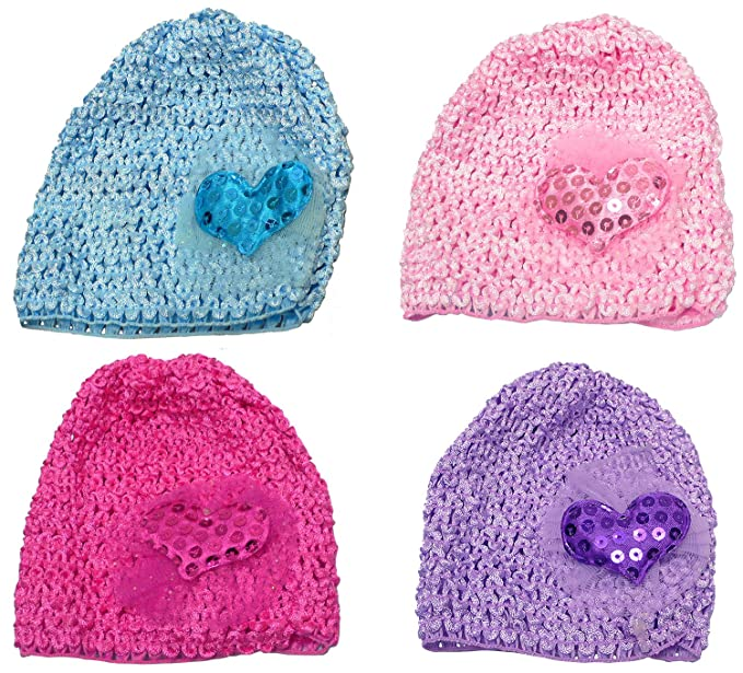 Amazon.com  Baby 4 pc Set Baby Knitted Bonnets Baby Girl Hats U6411 ... b44ba4c2f99