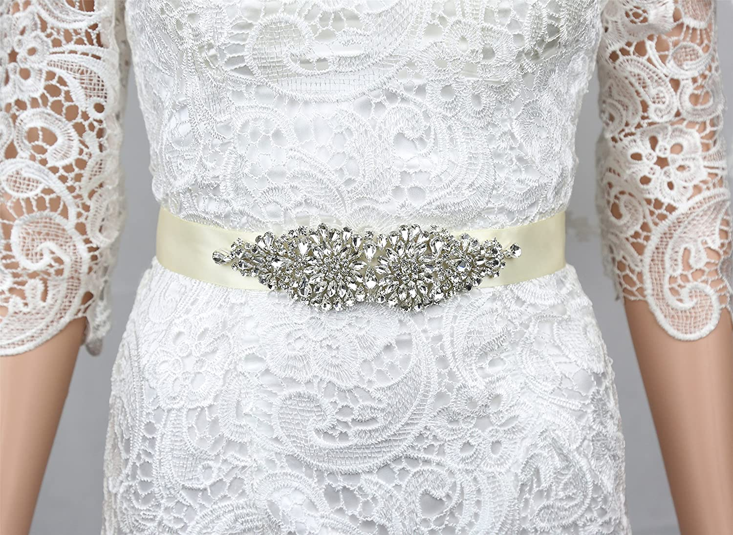 SoarDream Bridal Dress Sash, Rhinestone Bridal Belts, Wedding Belt, 7.2x2inches.