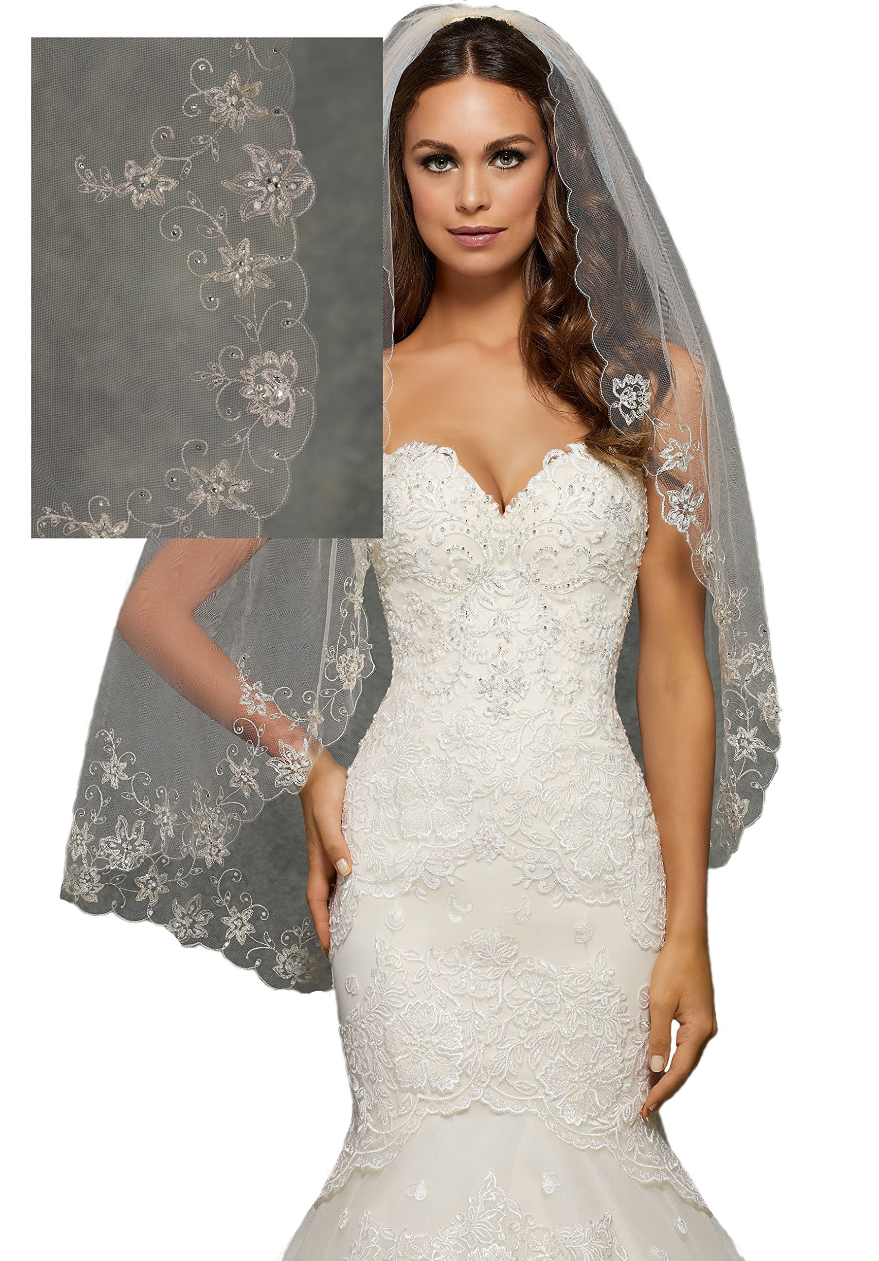 Passat Champagne Single-Tier 36''Fingertip Length Wedding Veil Embroidered with Pearls and Rhinestones VL1043