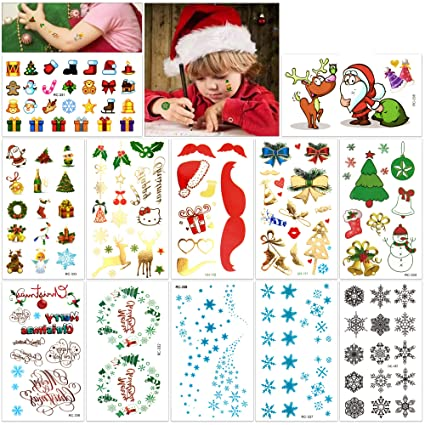 717e7c074537e Christmas Tattoos for Kids (12Sheet 160Deigns), Konsait Christmas Themed Temporary  Tattoo with Glitter