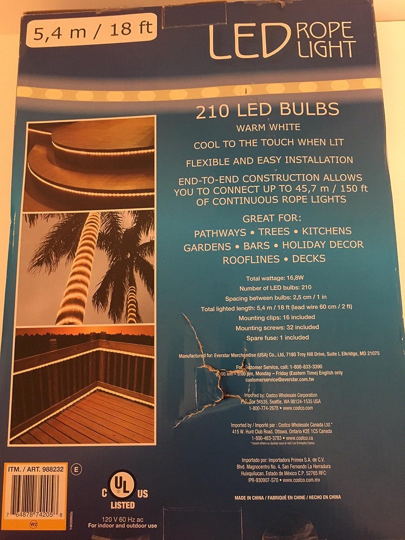 Amazon led rope light 210 led bulbs warm white home kitchen aloadofball Gallery
