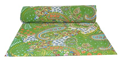 Amazon Com Sultan Handicrafts Indian Paisley Print Kantha Quilt