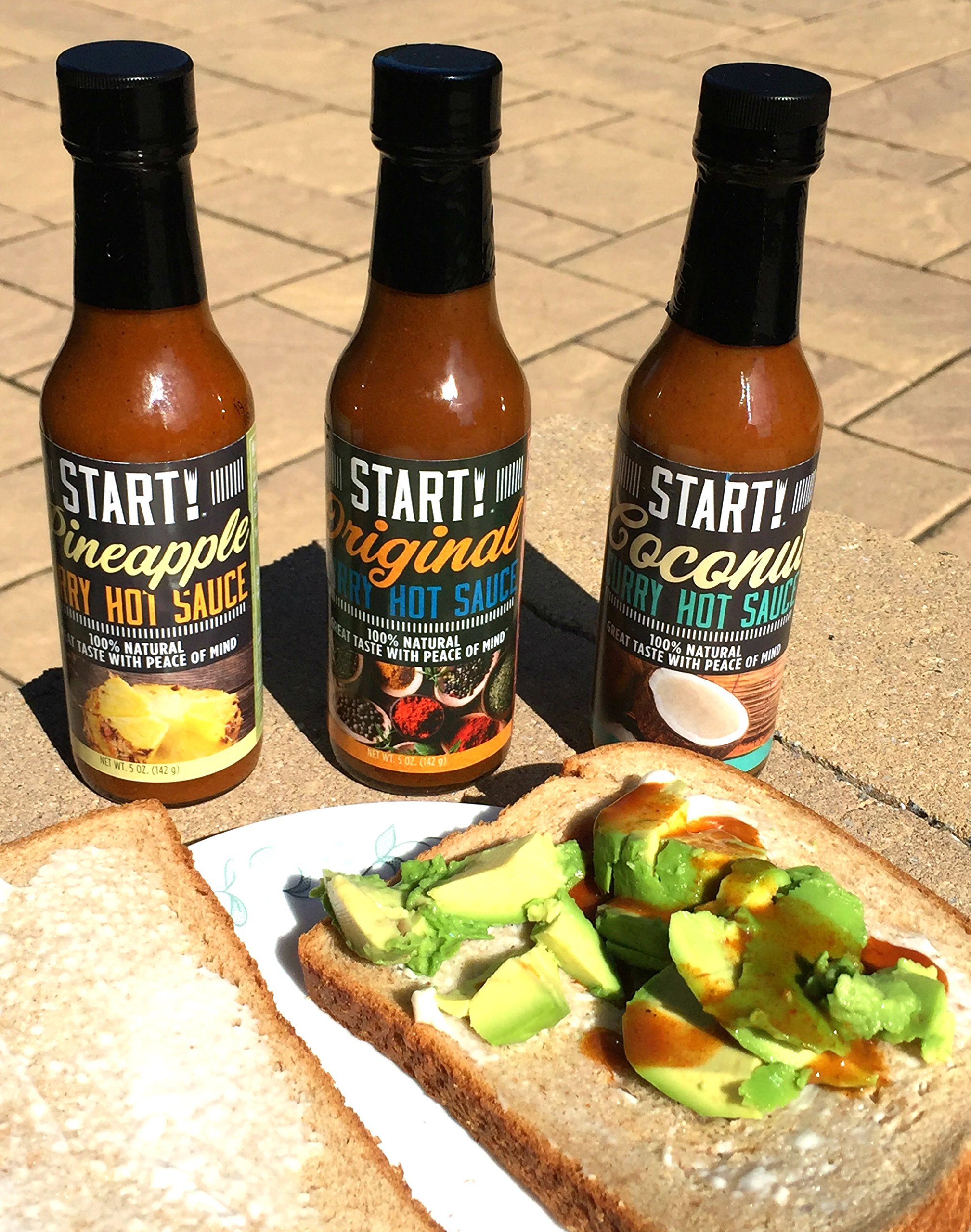START! Curry Hot Sauce - Variety Sampler Party Pack - Original, Coconut, and Pineapple Flavors - Vegan + Gluten Free - Everyday Gourmet Light Spice (12 pack) by Start (Image #1)