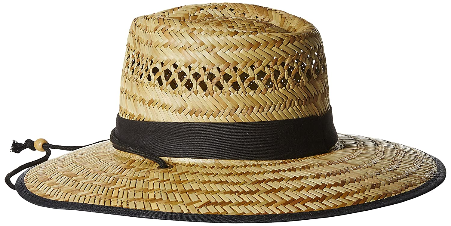 e136acd6 San Diego Hat Co. Men's Upf 50 Wide Brim Straw Lifeguard Outback Sun,  Natural, One Size at Amazon Men's Clothing store: