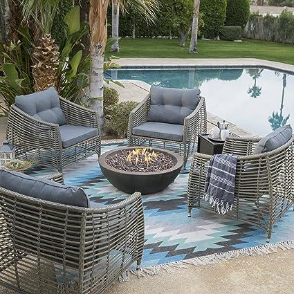 9d8a8c56508d Amazon.com: Belham Outdoor Patio Conversation Set with Fire Pit Chairs  Table 6 Piece Resin Wicker Metal Furniture: Garden & Outdoor