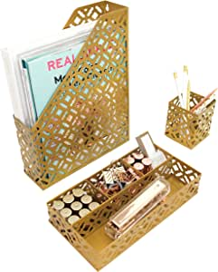 Blu Monaco Gold Desk Organizer for Women - 3 Piece Desk Accessories Set - Pen Cup, Magazine-File-Mail Holder, and Accessories Tray - Antique Gold Brass Finish Office Supplies Stationery Decor