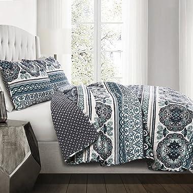 Lush Decor 3 Piece Nesco Stripe Quilt Set, King, Navy/Turquoise