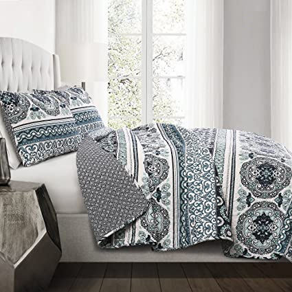 amazon com lush decor nesco stripe quilt set full queen navy