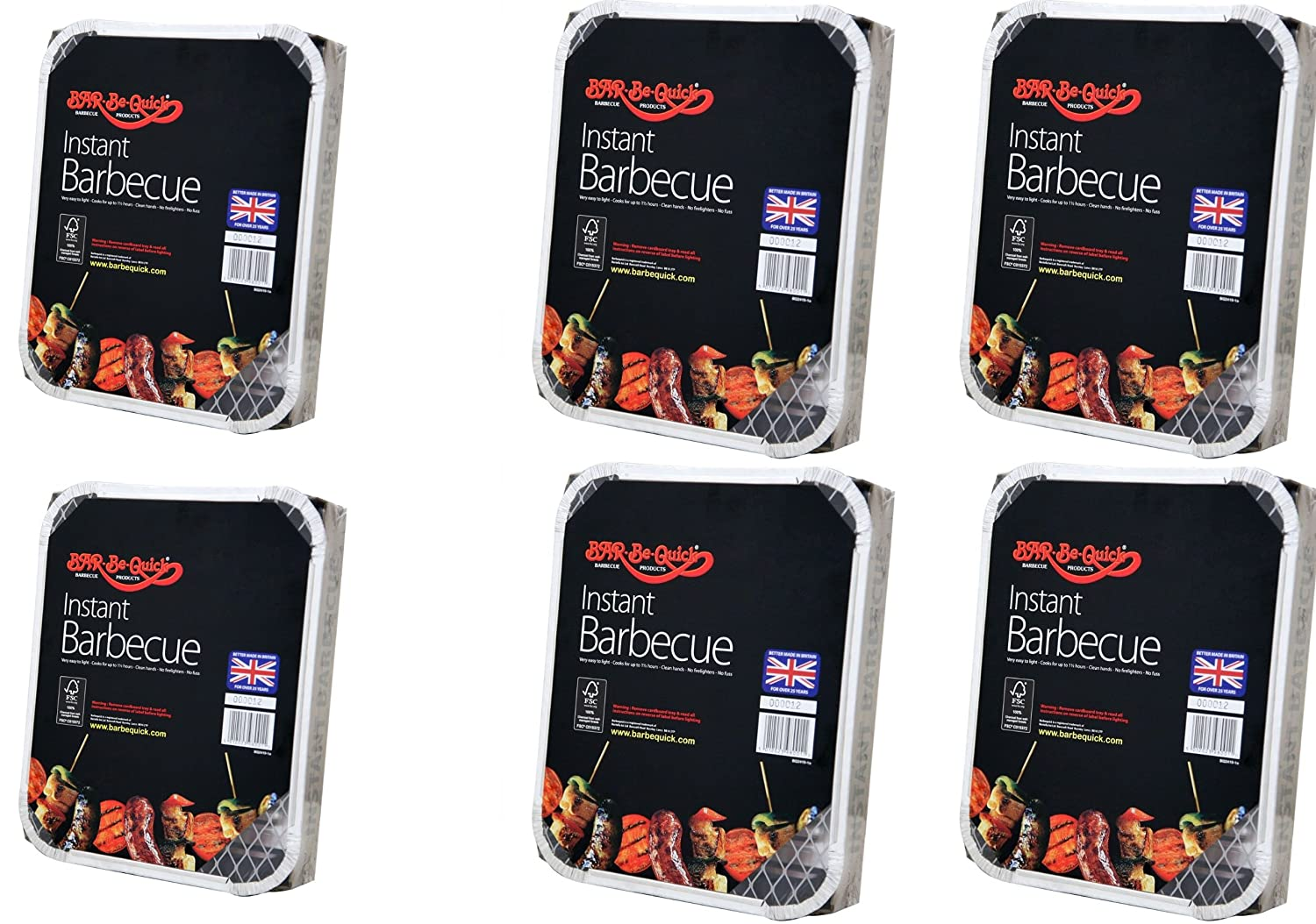 6 X Bar-Be-Quick Instant Barbecue packs- Each pack feeds 4 people-World's best brand leading disposable BBQ