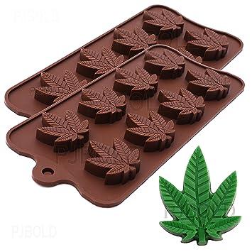Bandeja de cubitos de hielo, molde de caramelos de silicona, hoja de marihuana, paquete de 2: Amazon.es: Hogar