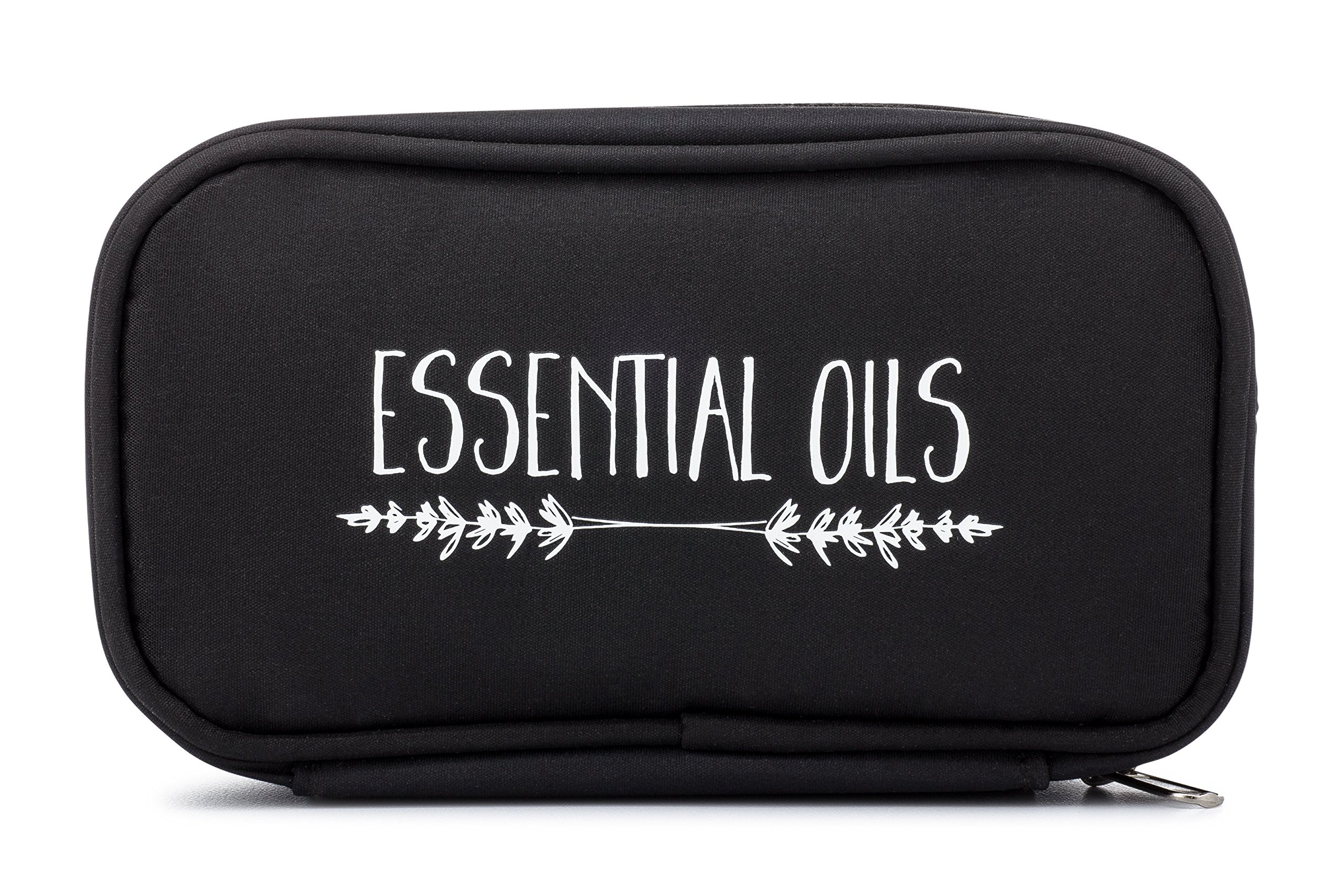 Essential Oil Carrying Case - Black ''Lavender Branches'' - Fits TEN 15ml Bottles - (Can hold 10ml & 5ml bottles as well) Young Living, doTERRA Travel Bag