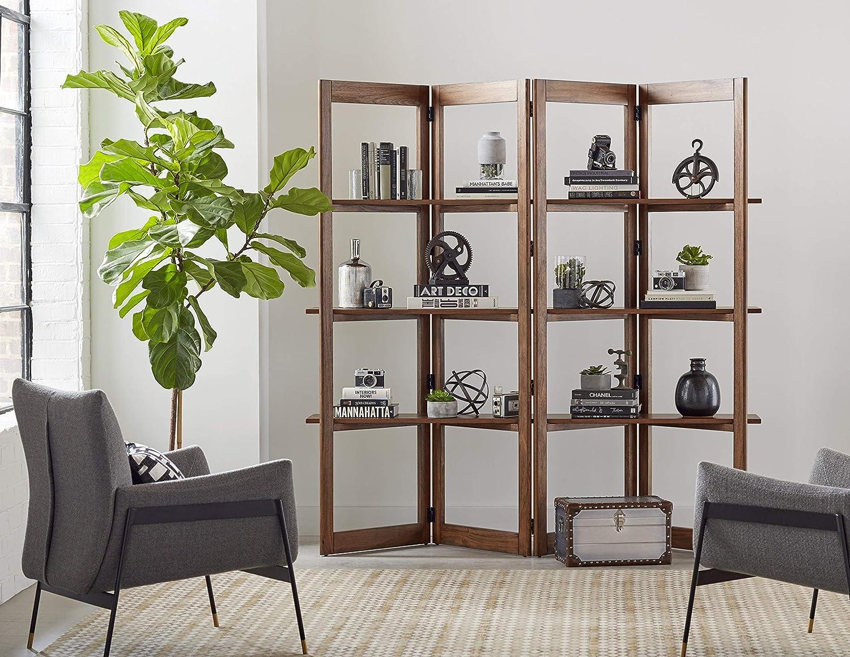 Martin Furniture Woodford Solid Wood Bookcase, Storage Space, Living Room Divider, Book Shelves, Light Brown