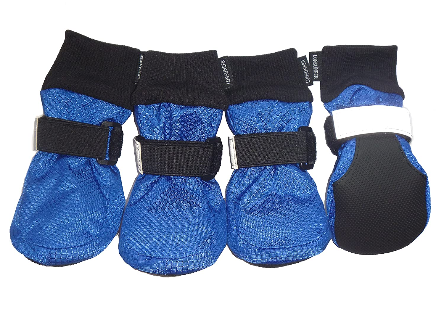 bluee Large ( L 3.15 x W 2.83 inch ) bluee Large ( L 3.15 x W 2.83 inch ) LONSUNEER Paw Predector Dog Boots Soft Sole Nonslip Safe Reflective Set of 4 color bluee Size Large