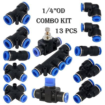 Xntun 13 PCS Pneumatic Fittings Combo Kit 6mm Or 1/4