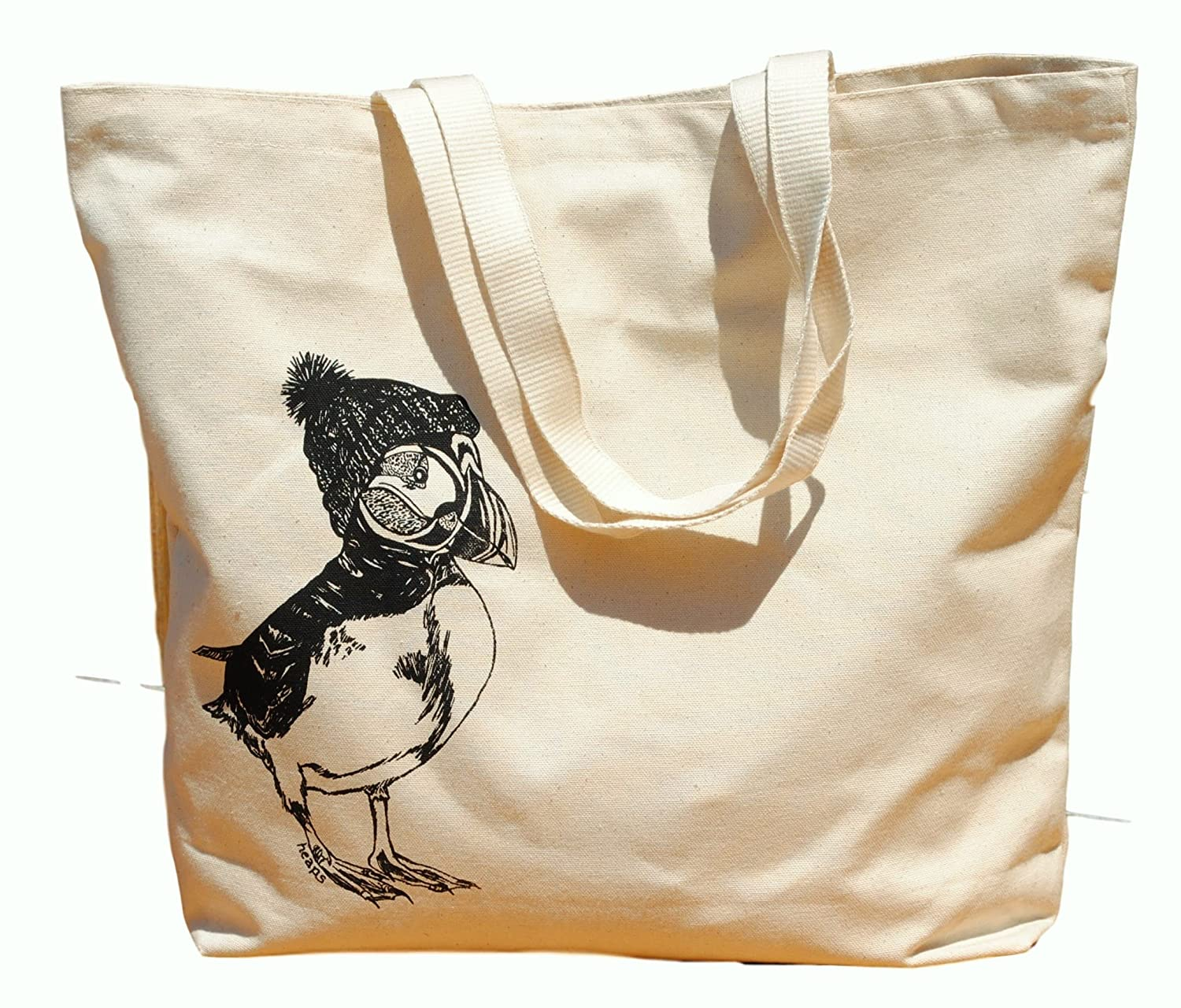 Canvas Tote Bag - Hand Printed Puffin - Market Travel Beach Shopper Grocery School