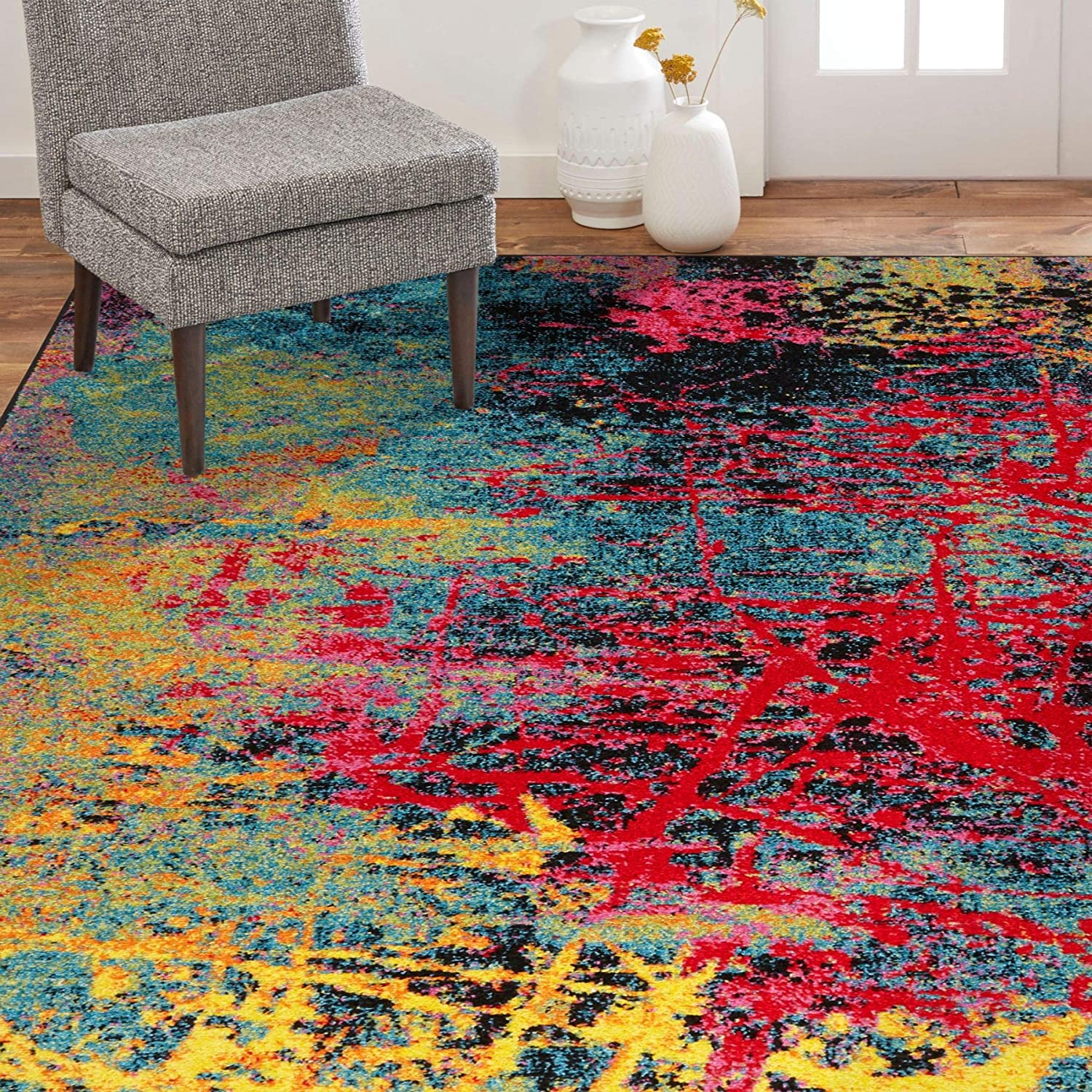 Amazon Com Home Dynamix Splash Tomie Area Rug Abstract 5 2 X7 2 Black Blue Pink Yellow Furniture Decor