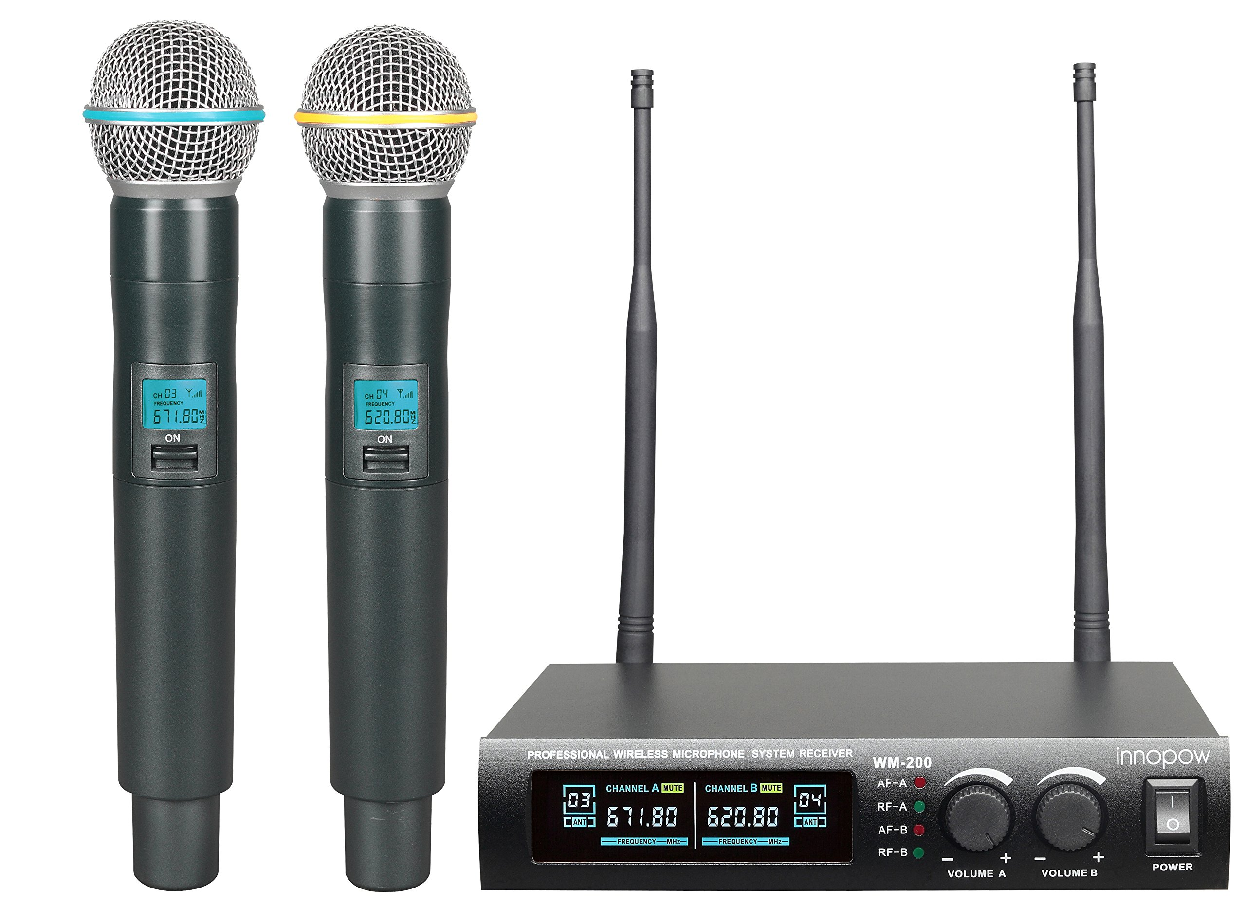 innopow Metal Dual UHF Wireless Microphone System,inp Metal Cordless Mic set, Long Distance 150-200Ft ,16 Hours Continuous Use for Family Party,Church,Small karaoke Night (WM200)