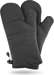 AVACRAFT Oven Mitts Pair, Flexible, 100% Cotton with Unique Heat Resistant Food Grade Silicone, Thick Terrycloth Interior, 500 F Heat Resistant (Grey Oven Mitts)