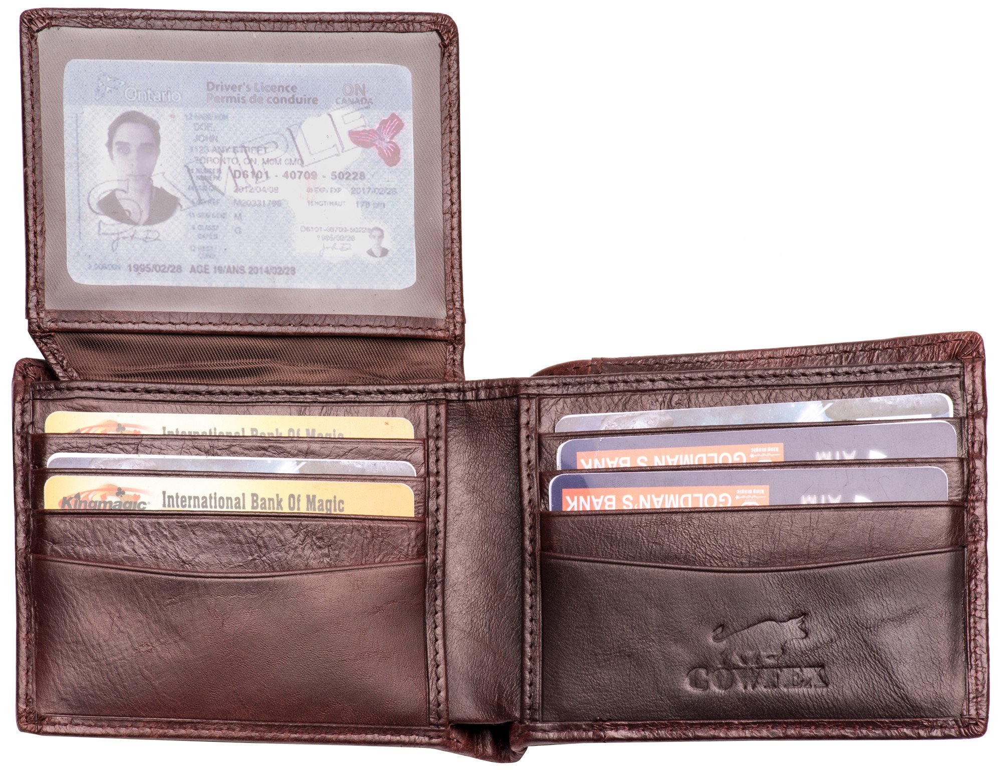 Wallet for men Genuine cowhide Leather RFID Blocking Bifold with ID Window Brown (Dark Brown)
