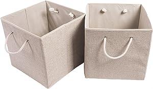 Amelitory Storage Bins Foldable Cube Organizer Linen Fabric Drawer Set of 2 Beige