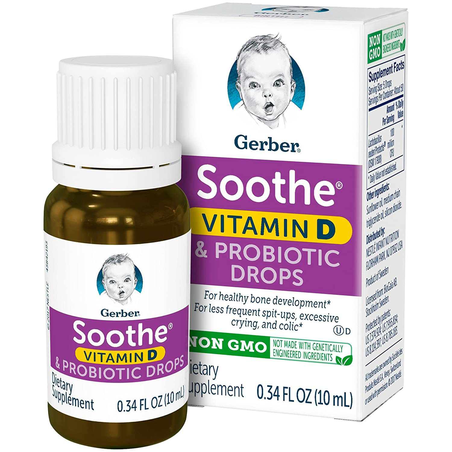 Gerber Soothe Baby Probiotic Colic Drops, 0.34 Fluid Ounce Nestle