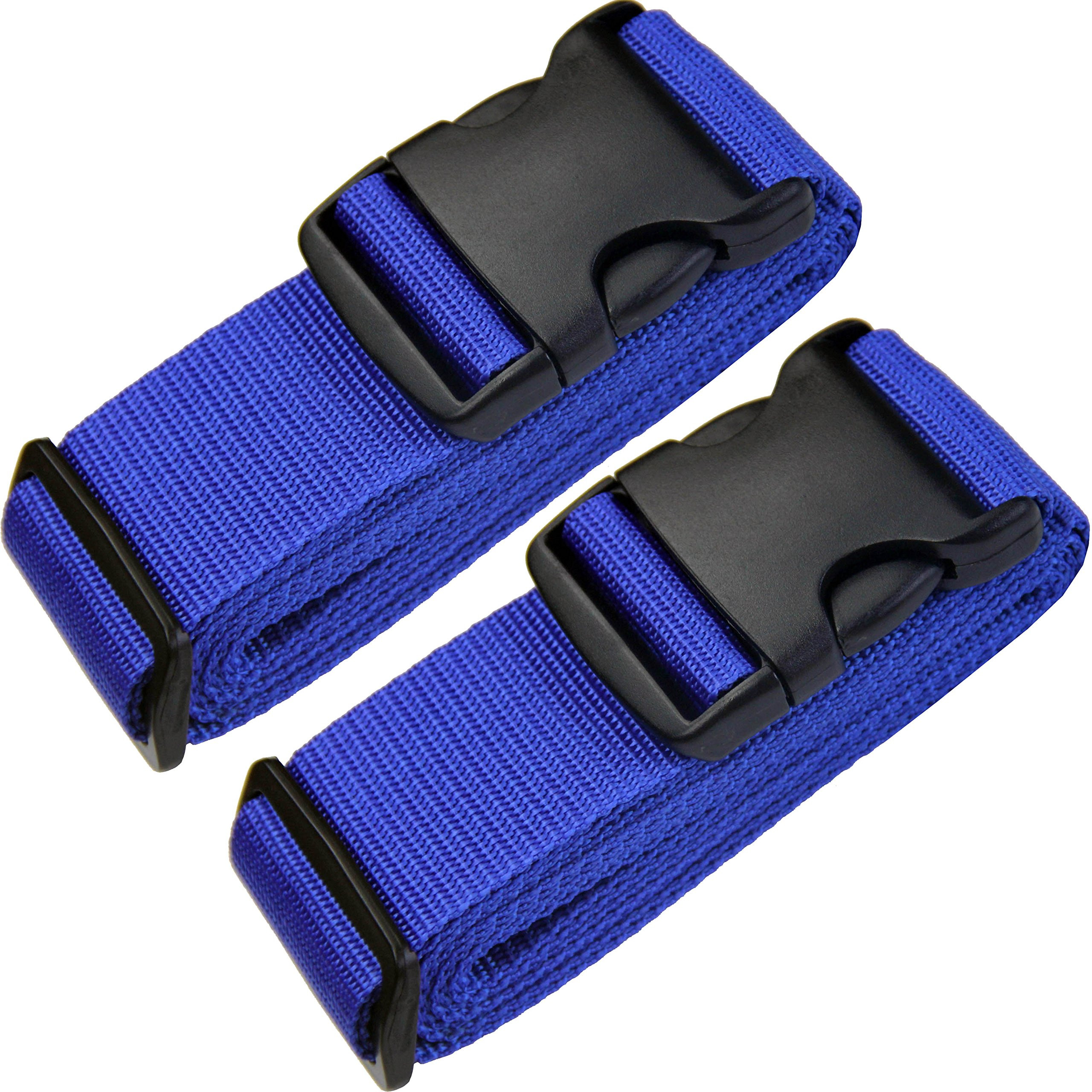 TRANVERS Luggage Straps For Suitcases Baggage Belt Heavy Duty Adjustable 2-Pack Blue