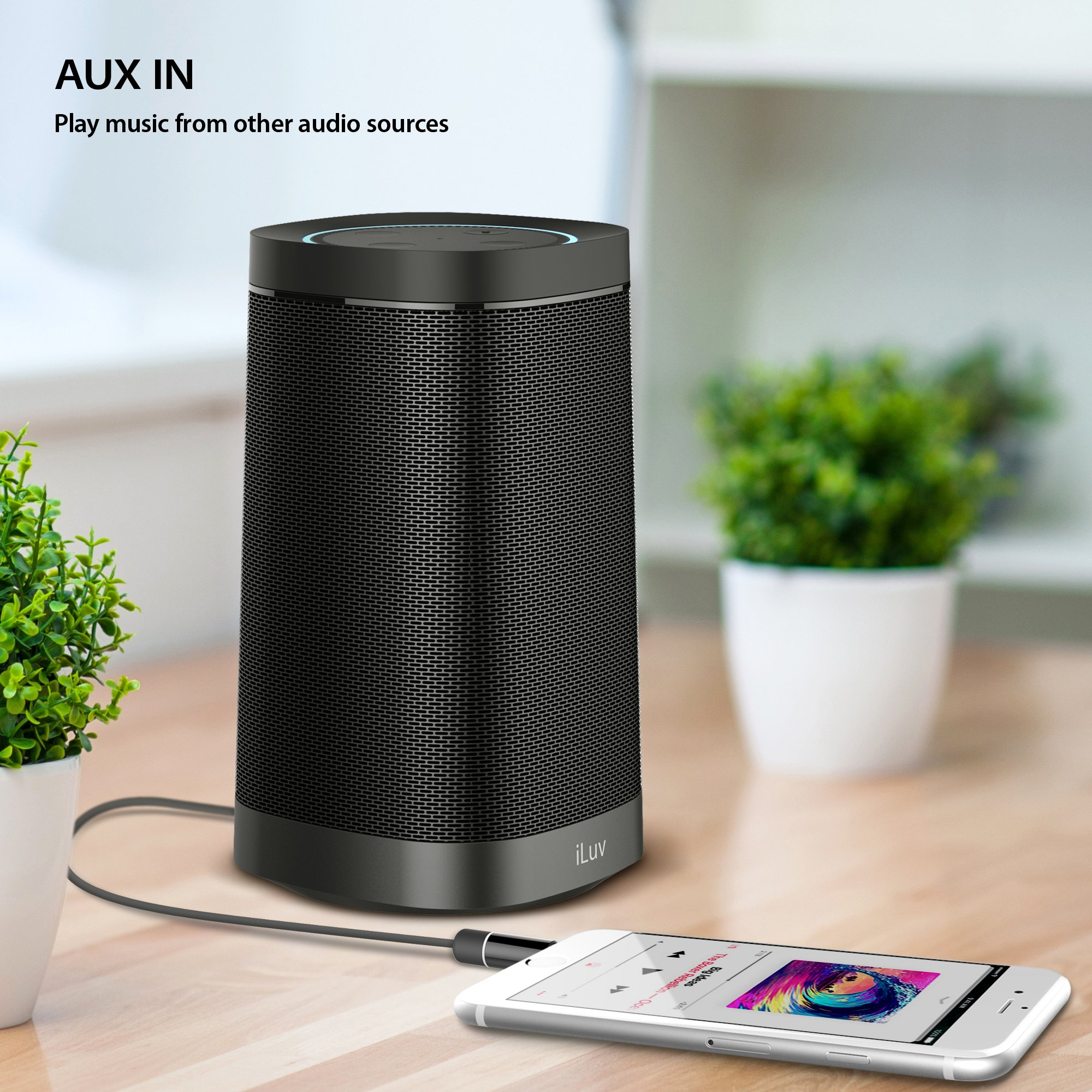 iLuv Aud Dock, Amazon Echo Dot Docking Audio Speaker with Powerful Dynamic Digital Sound, Portability, Plug & Play, Aux-in Port, Rechargeable Battery, and Micro USB Cable (Black) by iLuv (Image #6)