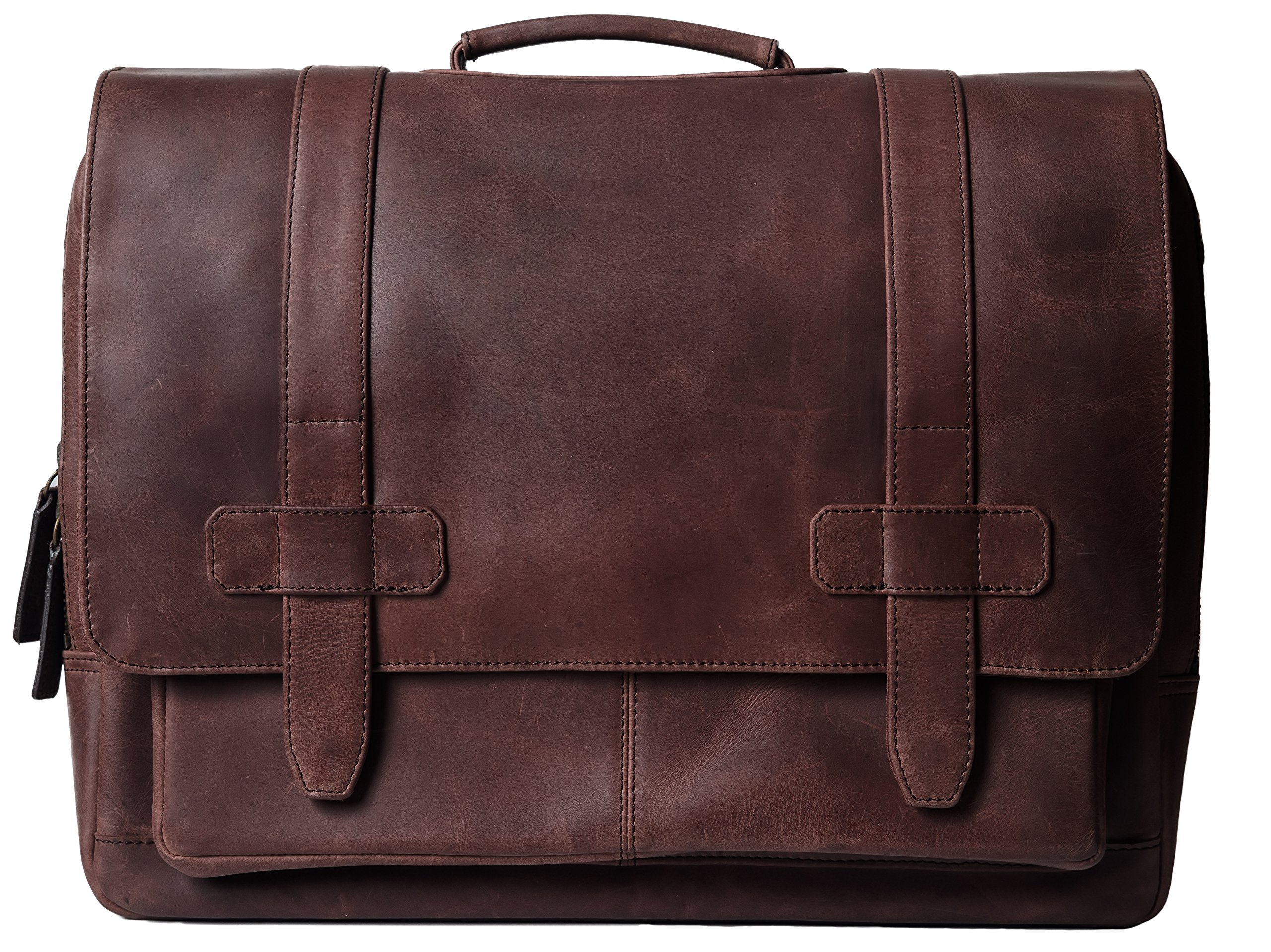 Genuine Leather Messenger Laptop Bag/Briefcase for Men, LOGAN, fits 15.4 inch Laptop, adjustable strap, 16 inch by 12 inch by 4 inch (Dark Chestnut) by Ladderback