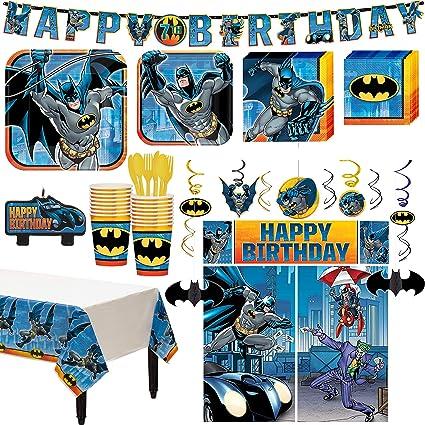 Amazon.com: Kit de fiesta de cumpleaños de Batman Superhéroe ...