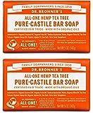 Dr. Bronner's Organic Pure Castile Tea Tree Soap, 5 oz (2 Pack)