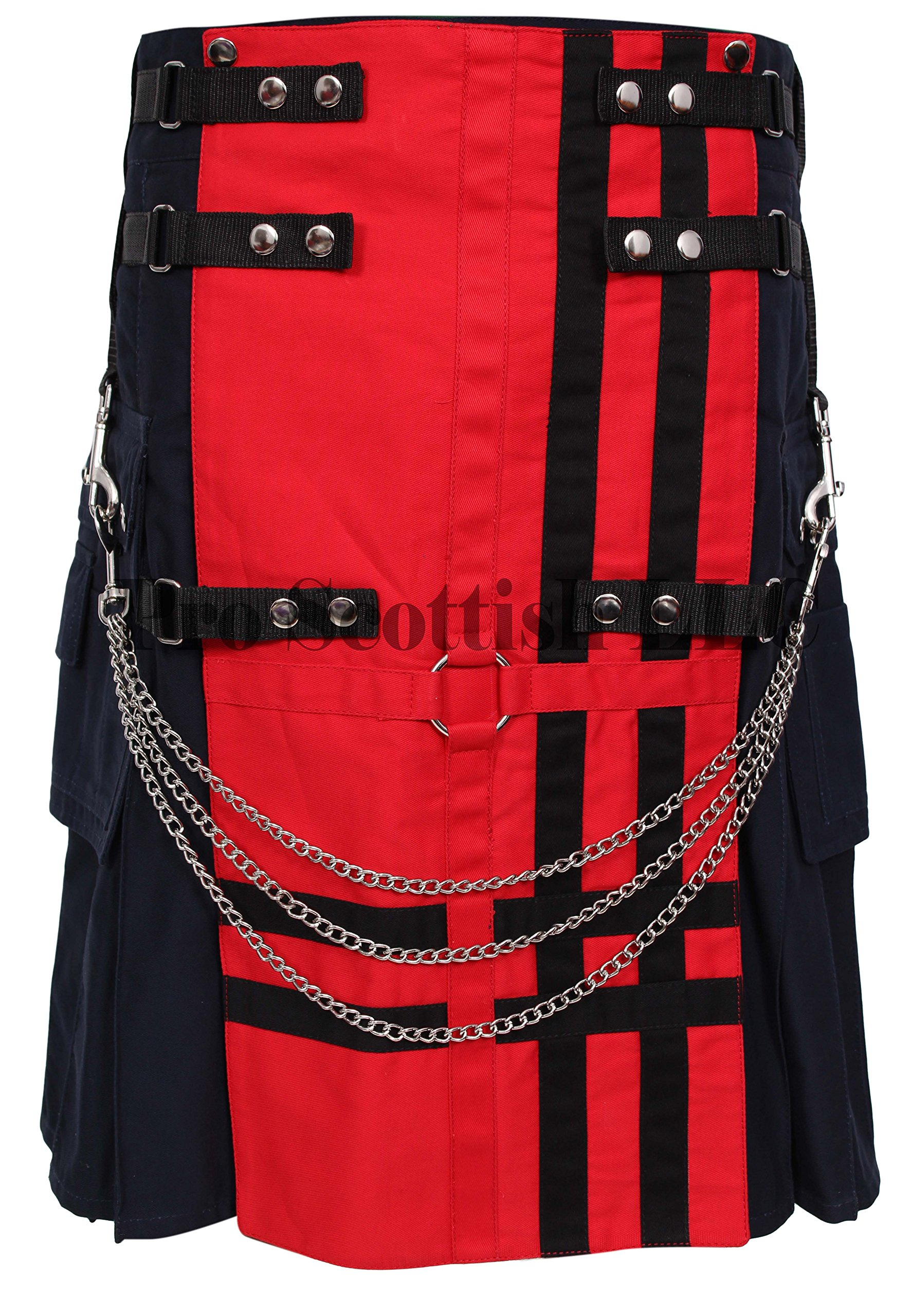 Red/Navy Deluxe Utility Fashion Kilt (40W x 24L)