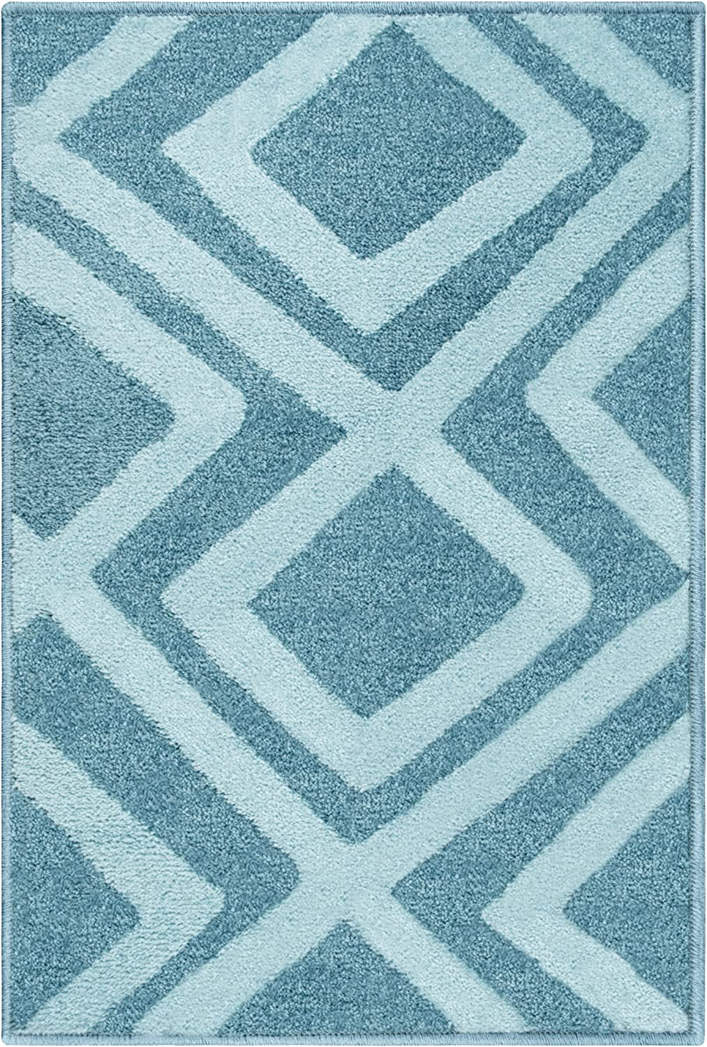 Superior Flagstone Collection 2 x 3 Blue Quality and Affordable Area Rugs 6mm Pile Height with Jute Backing