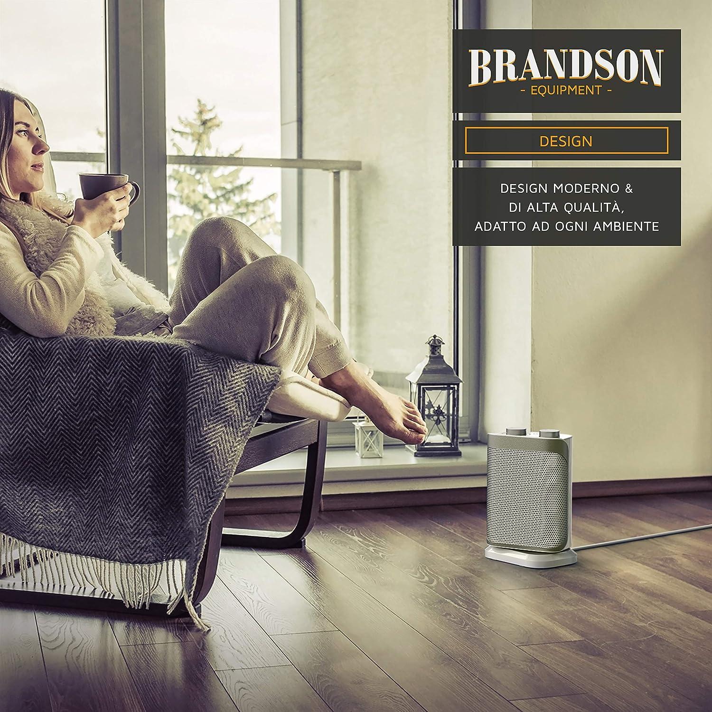 Termostato 47 dBA Silenzioso Termoventilatore con 2 livelli di potenza 1500 W a Tripla Protezione Brandson | Certificato GS Funzione ventilatore