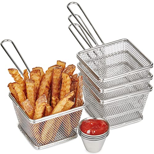 Andrew James Chip Baskets   Set of 4 Stainless Steel Serving Trays   Includes 4 Mini Sauce Pots   Dishwasher Safe