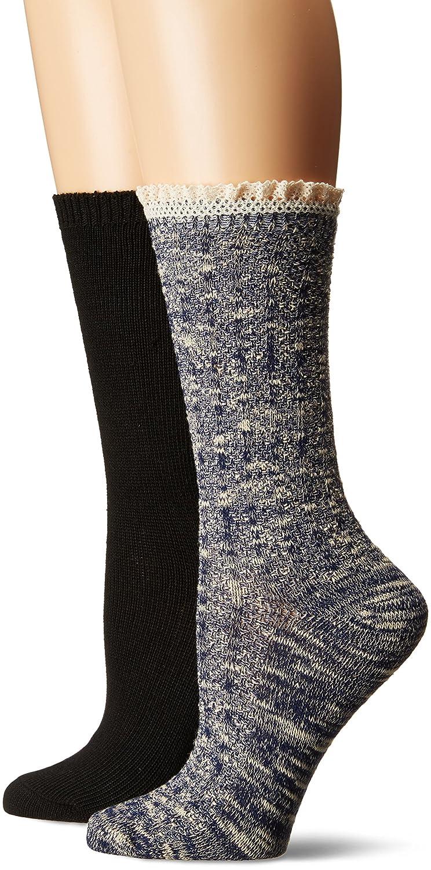 Steve Madden Women's Speckle Ruffle Cuff Boot Sock 2 Pack