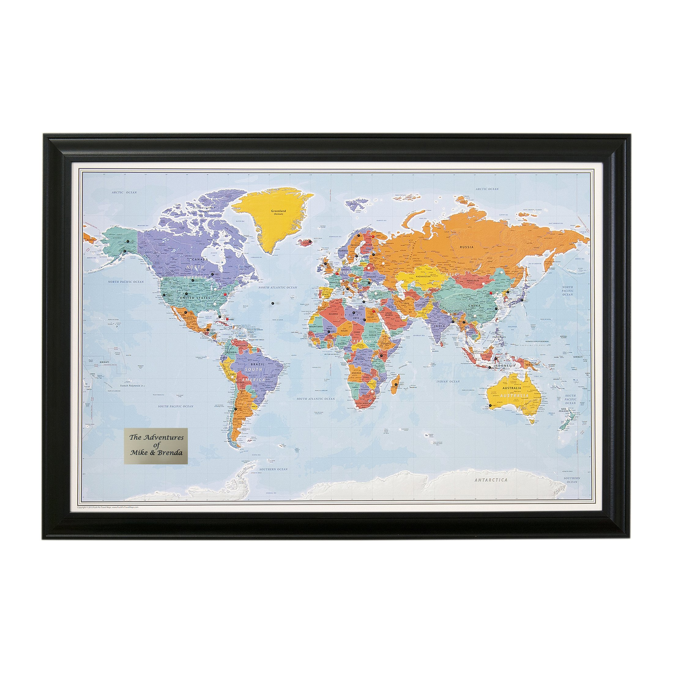 Personalized Push Pin World Travel Map with Black Frame and Pins - Blue Oceans 24 x 36
