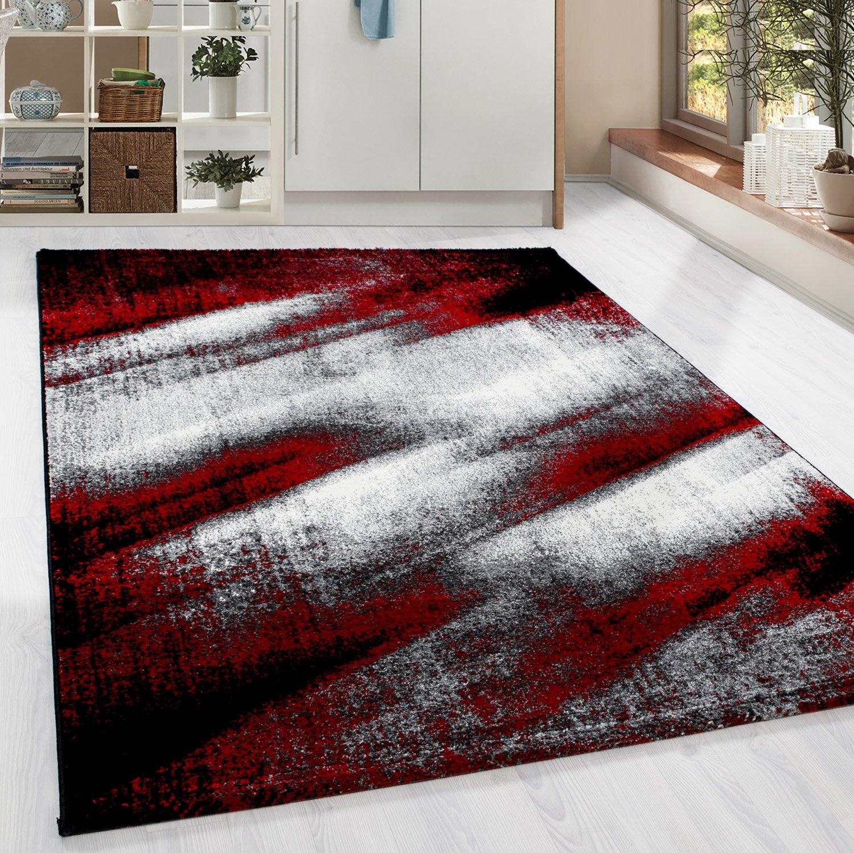 HomebyHome Moderner Design Guenstige Teppich Kurzflor abstrakt Schatten Schwarz Grau Weiss meliert Rot 5 Groessen Wohnzimmer ver. Farben u. Groeßen, Größe 200x290 cm