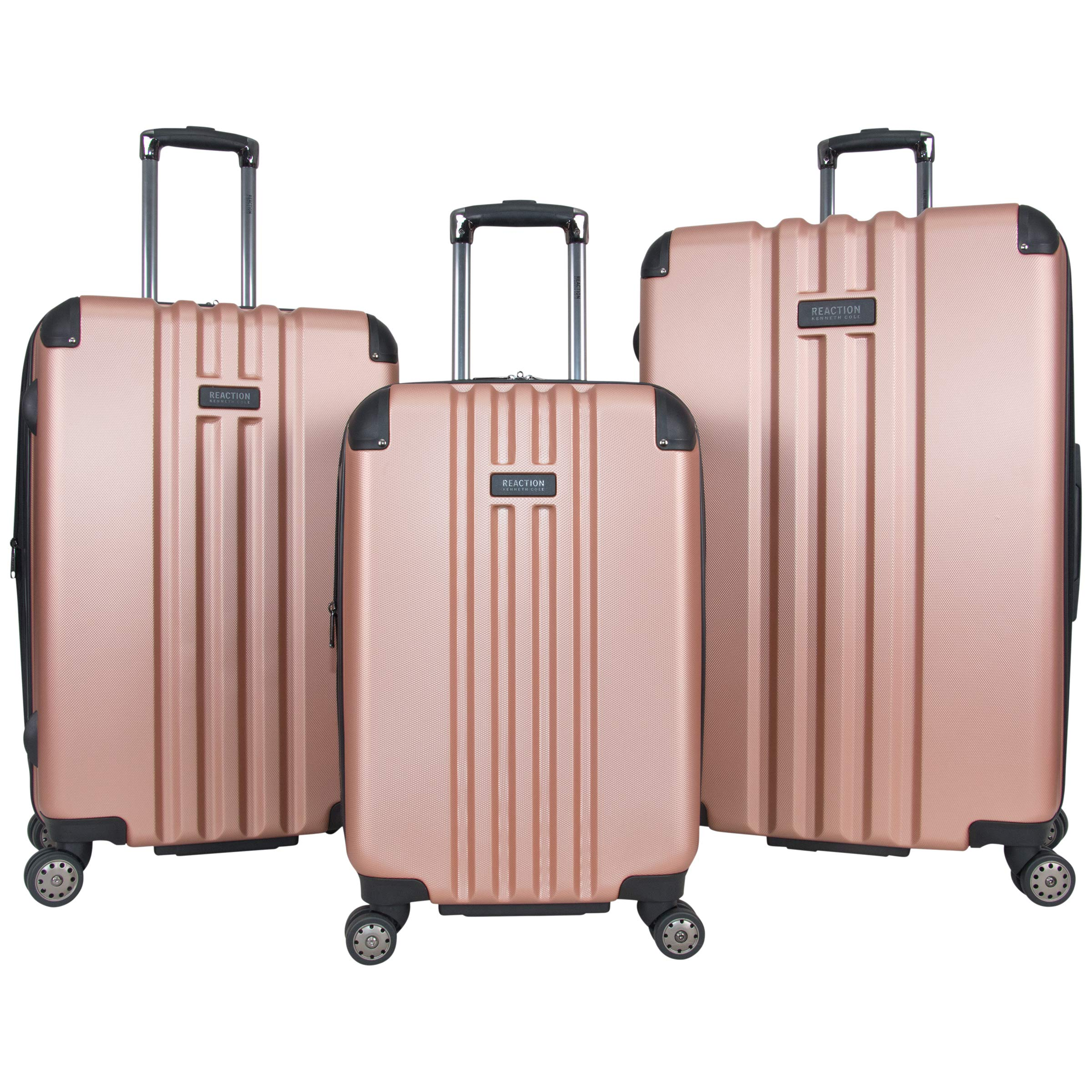 Kenneth Cole Reaction Reverb Hardside 8-Wheel 3-Piece Luggage Set: 20'' Carry-on, 25'', 29'', Rose Gold