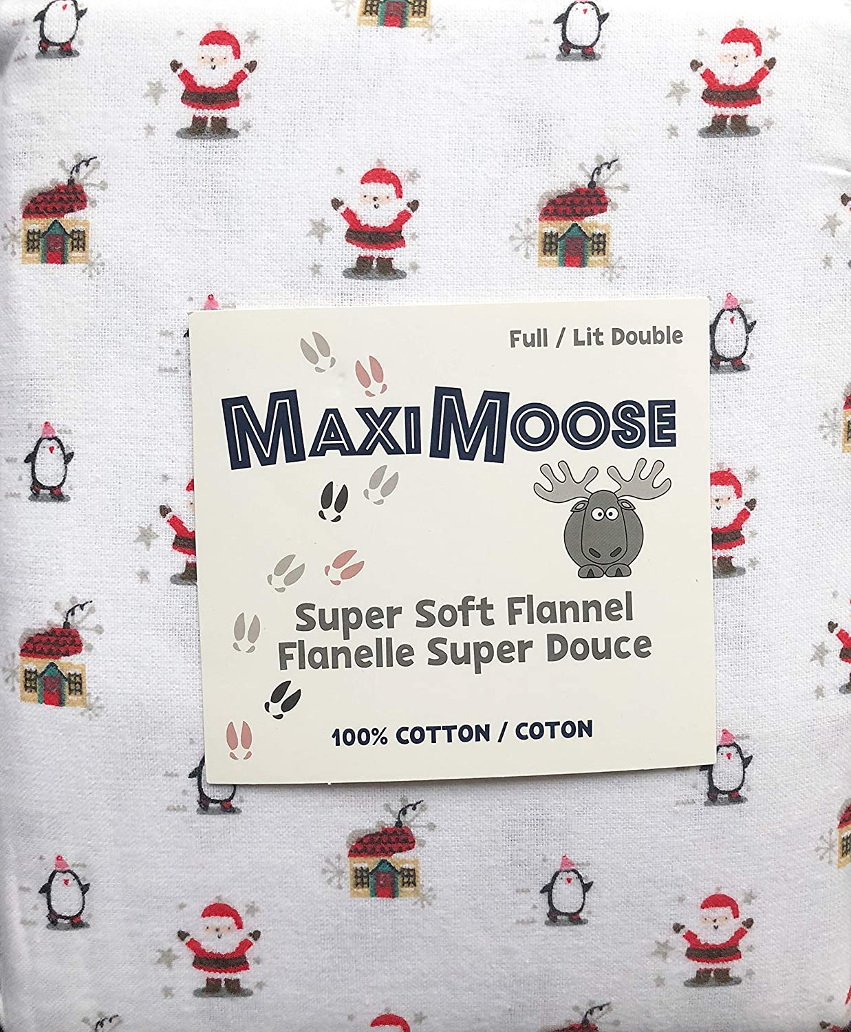 Maximoose 4 Piece Cotton Flannel Full Size Double Bed Sheet Set Christmas Santa Claus Cabins Little Penguins on White