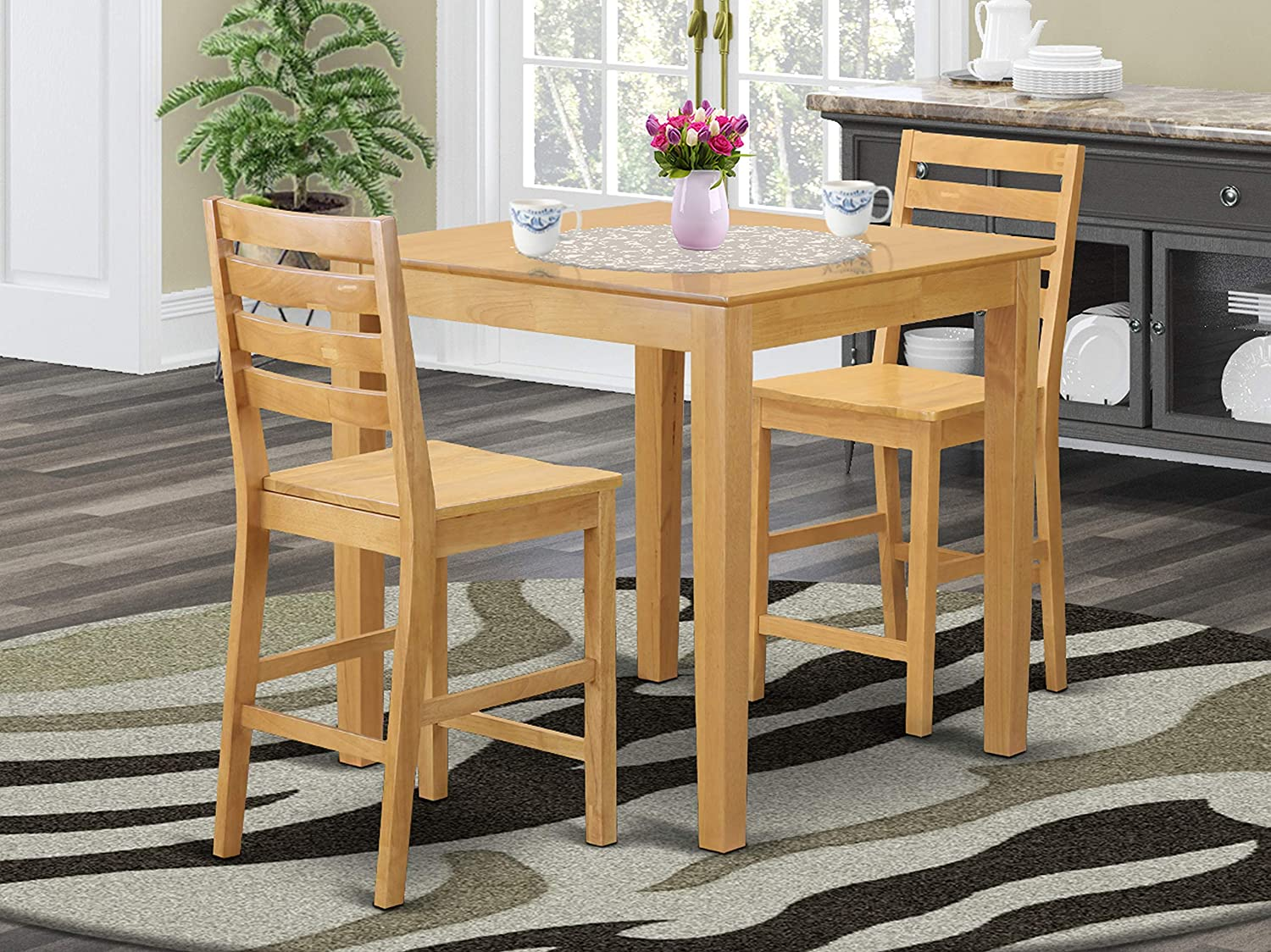 3 PC counter height Table and chair set-pub Table and 2 Kitchen bar stool