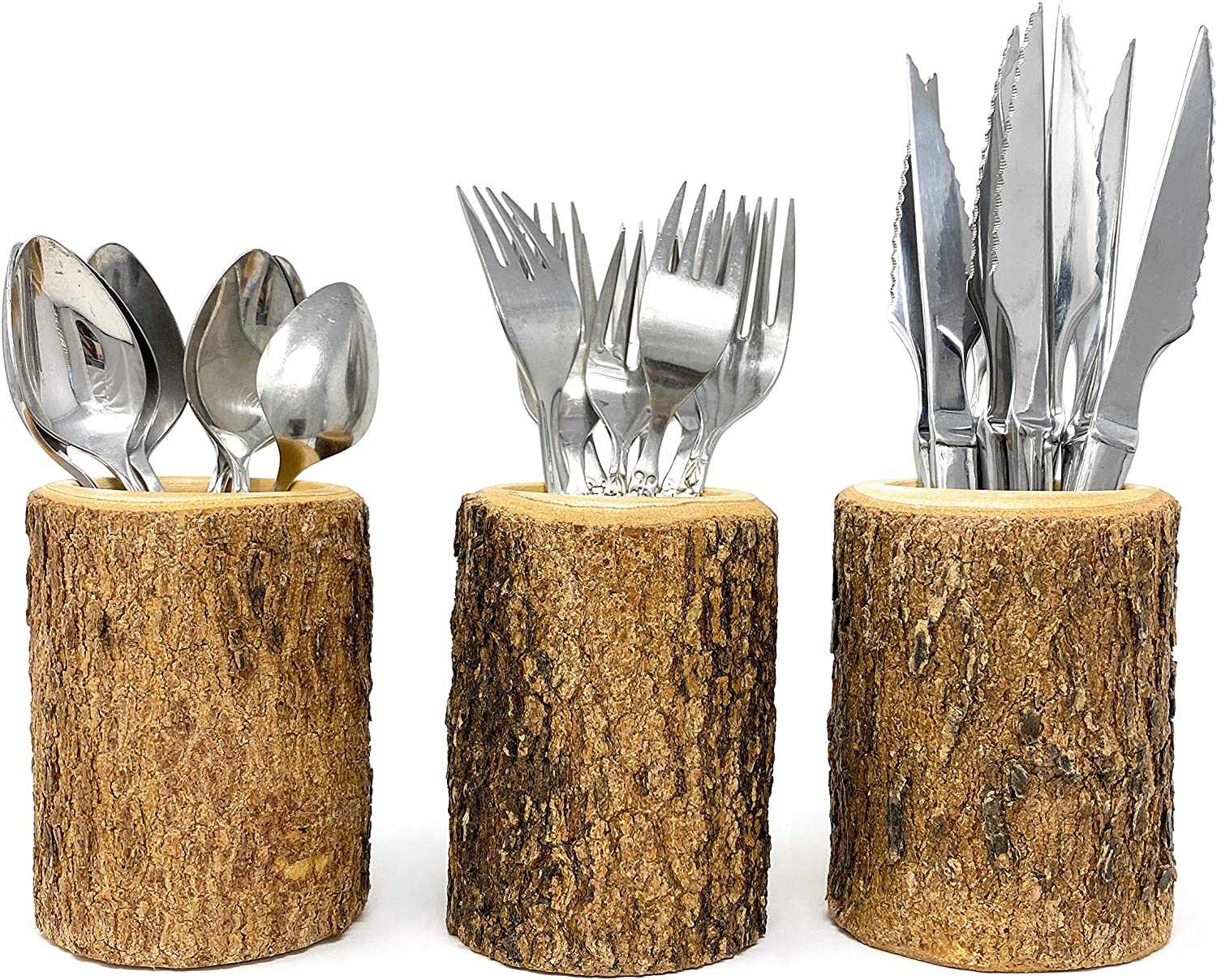 Silverware Holder in Natural Wood Bark Handcrafted Utensil Flatware Organizer for Rustic Kitchen Farmhouse Decor and Restaurant Tables (3 Cups)