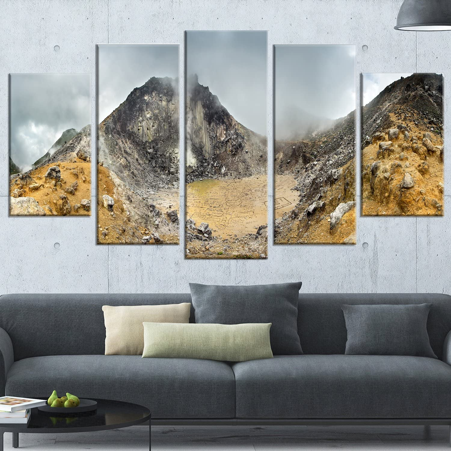 Amazon Com Design Art Volcano Panorama With Dramatic Sky Landscape Wall Art Canvas Print 60x32 5 Piece Pt11046 373 60x32 5 Panels Diamond Shape Posters Prints
