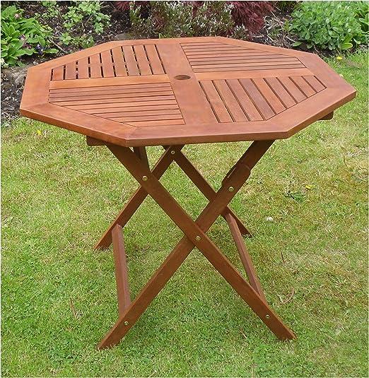 Canterbury 4 pequeño octogonal plegable mesa de jardín de madera muebles de jardín patio 4 asiento: Amazon.es: Jardín