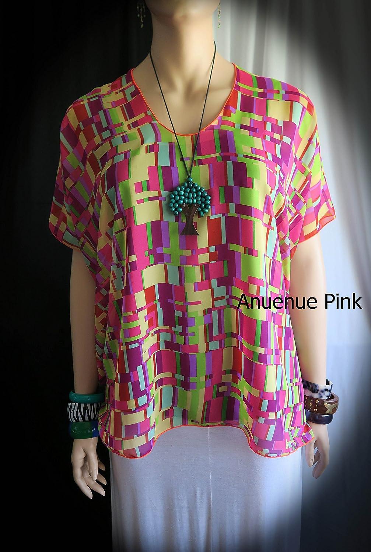 db74bd5617 Amazon.com: Anuenue (Rainbow) Women's Sheer Hawaiian Cover-up blouse boho  Shirt tunic top- Fits M-1XL Plus Size - Made in Hawaii: Handmade