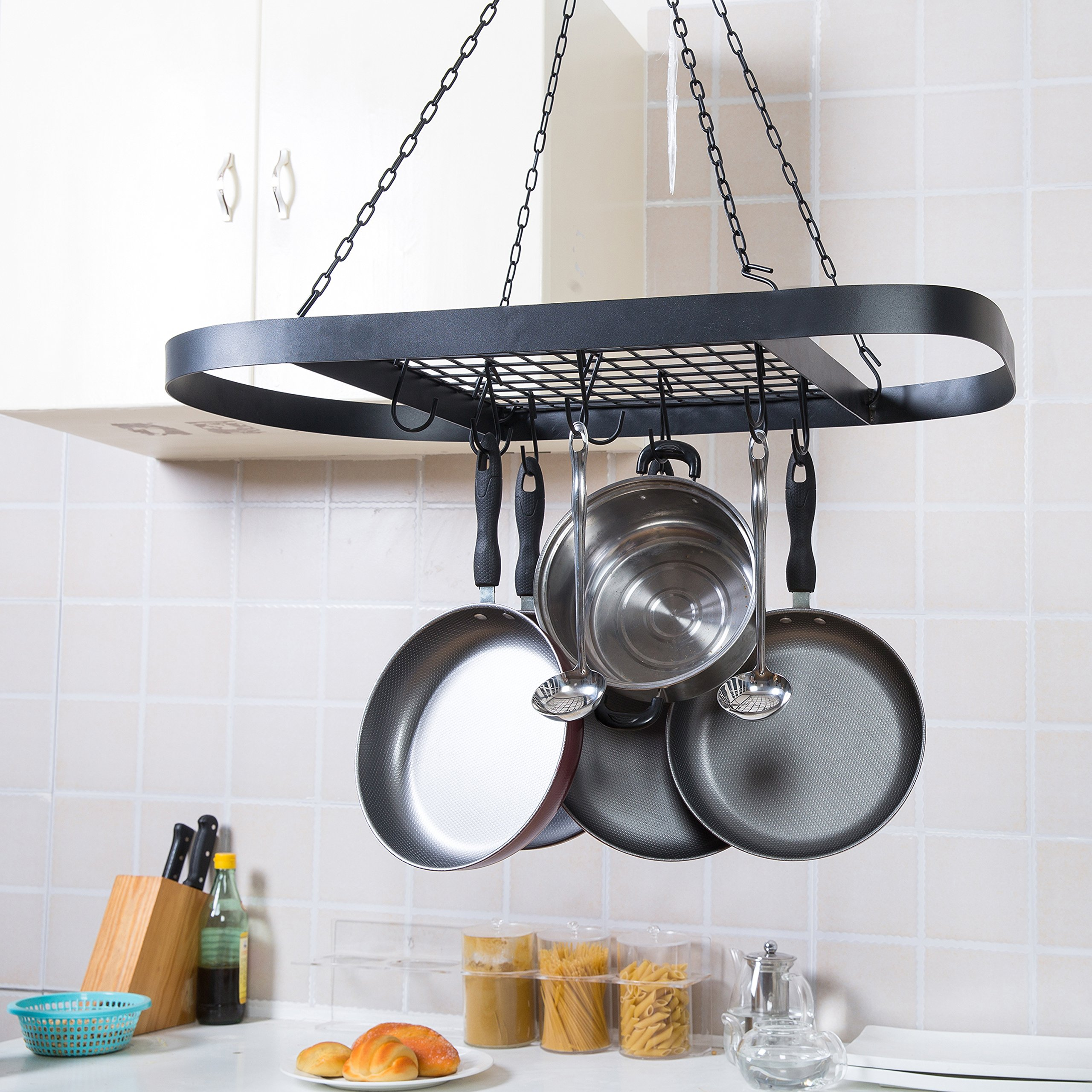 Black Metal Ceiling Mounted Oval Pot Rack, Hanging Cookware Organizer with Wire Grate Shelf by MyGift